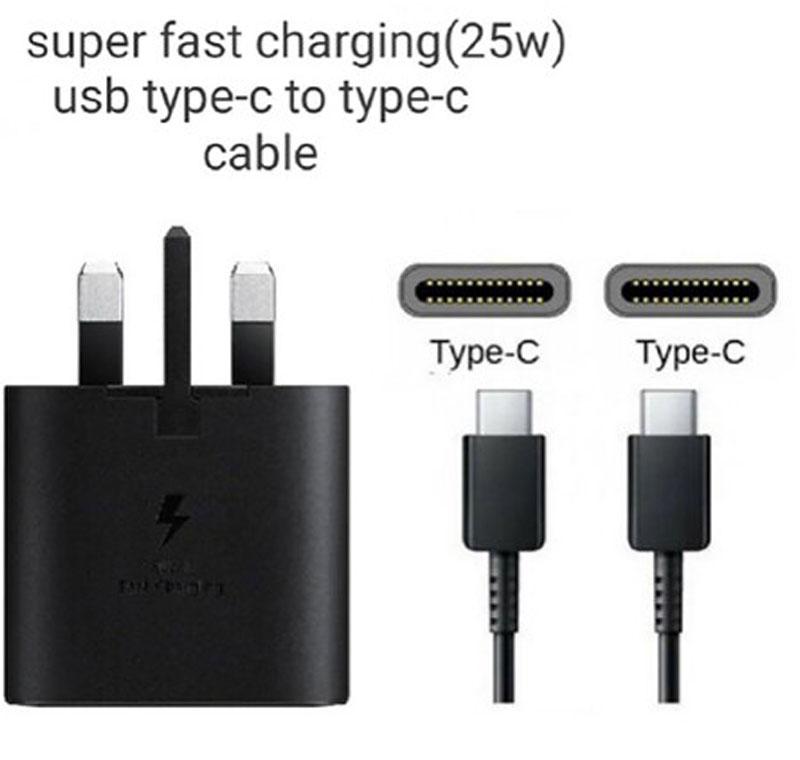 Samsung شارژر  سامسونگ  EP  TA800 توان 25 وات بهمراه کابل Usb Type C