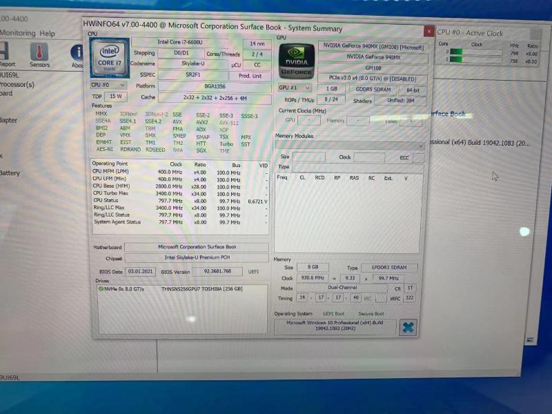 Microsoft مایکروسافت سرفیس بوک 1 core i7 8 256